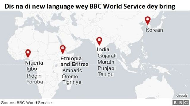 Map wey show BBC World Service languages