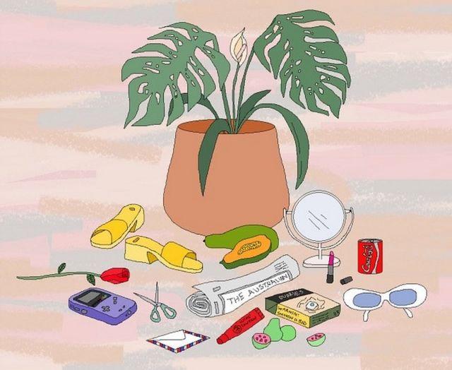 Pintura digital mostra vaso de plantas e itens variados, como um par de sandálias e um espelho