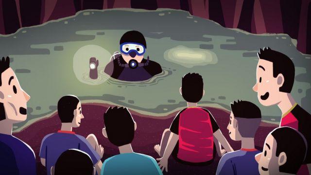 Ilustração mostra momento em que mergulhadores chegaram aos meninos