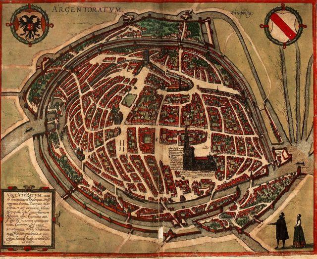 (Argentoratum Strassburg, publicado por primera vez en la Cosmografía de Munster edición de 1550. ©Universidad Hebrea de Jerusalén y Biblioteca Nacional de Israel)
