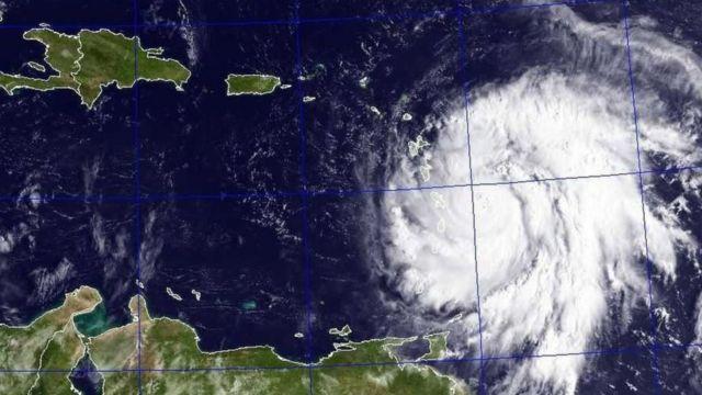 Satellite picture wey shw Hurricane Maria