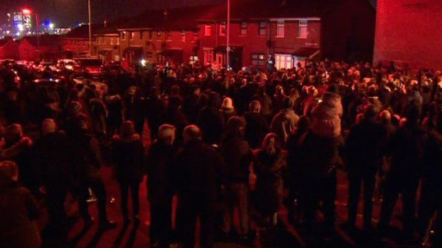 Several hundred people attended the rally in west Belfast on Wednesday night