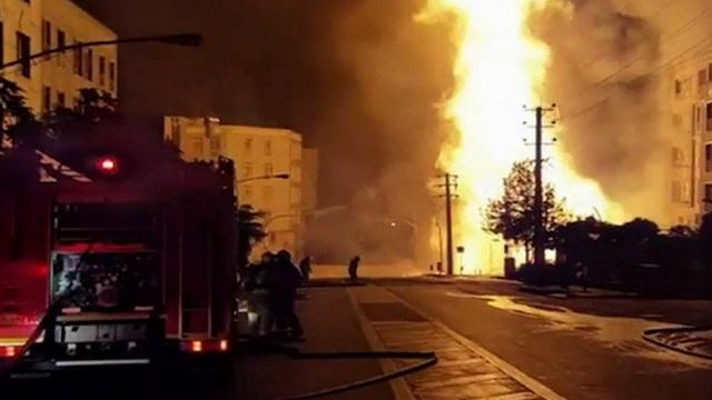 Flames from gas explosion in Tehran