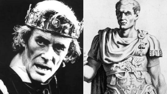 左はマクベスを演じるピーター・オトゥール。右はジュリアス・シーザーの絵。