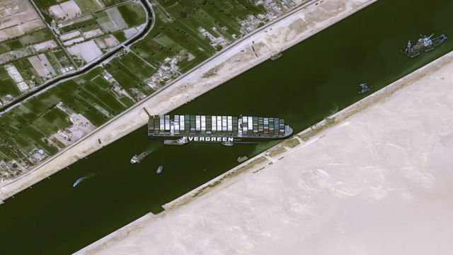 Satellite image from Cnes2021, Distribution Airbus DS showing Ever Given blocking the Suez Canal (25 March 2021)