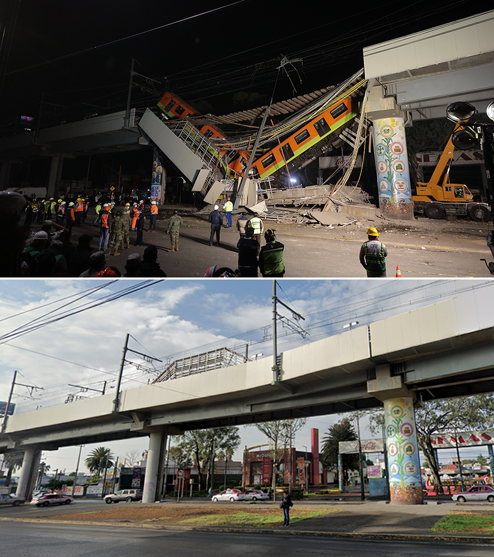 Composition of before and after images of the subway accident site