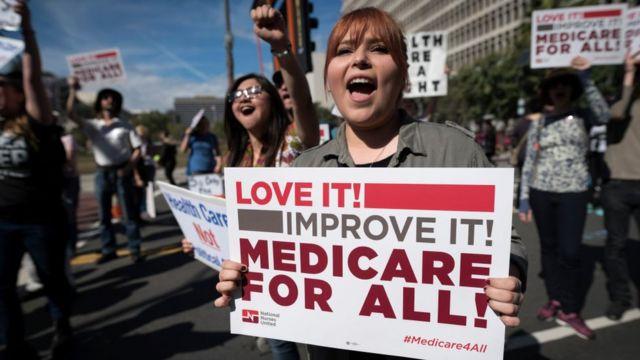 Manifestación a favor de un sistema de salud universal en Estados Unidos.