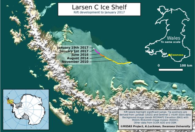 Larsen ice crack continues to open up