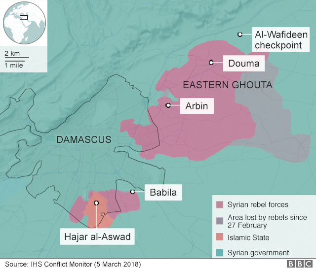 Map of Damascus and Eastern Ghouta