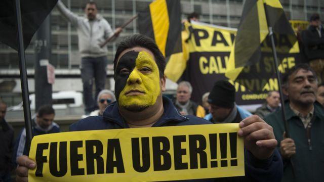Protestas contra Uber en Argentina