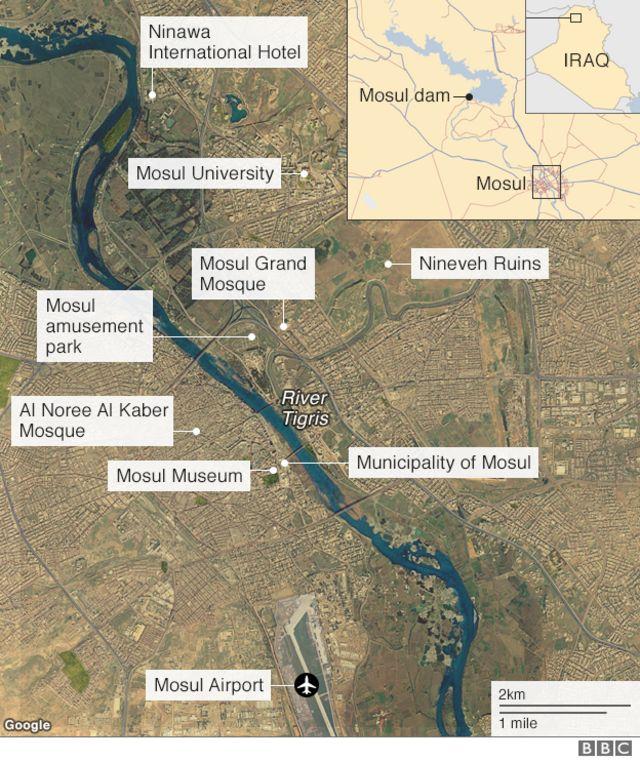 Satellite image of Mosul showing notable landmarks