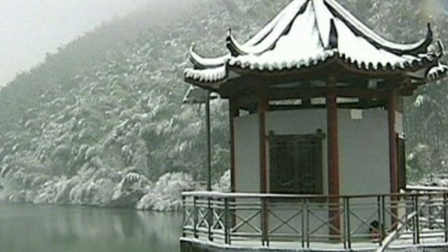 Snowy temple in China