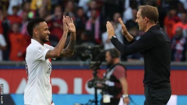 Thomas Tuchel with Neymar