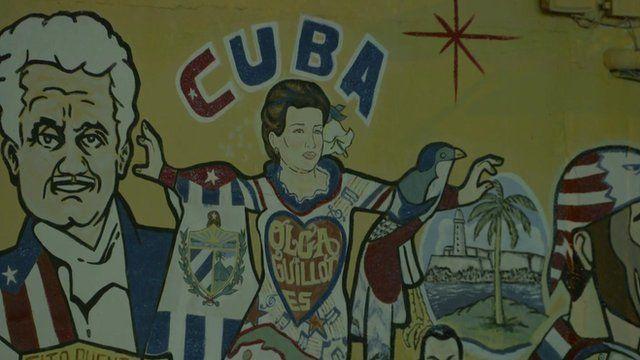 Mural reading Cuba