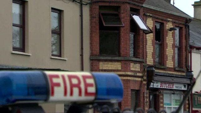 The scene of the fire in Castlewellan which claimed the life of a 19-year-old woman