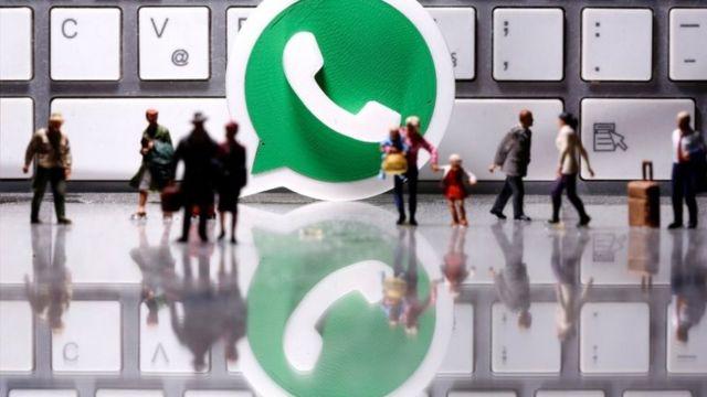 Logo do WhatsApp com pessoas em miniatura