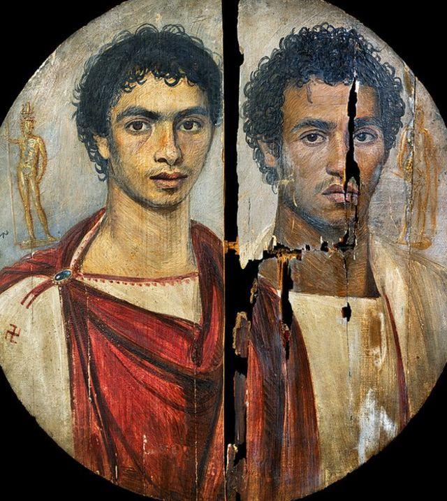 Un retrato de Fayum de dos hermanos de Sheikh Abada, Egipto. Los jóvenes pueden haber sido guerreros que murieron al tiempo.
