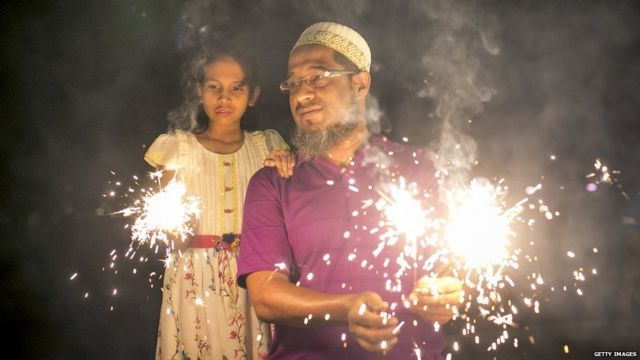 Father Daughter enjoying fire crackers