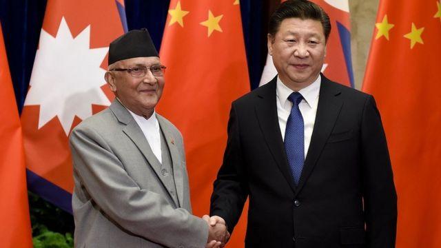中国国家主席习近平和尼泊尔总理夏尔马·奥利