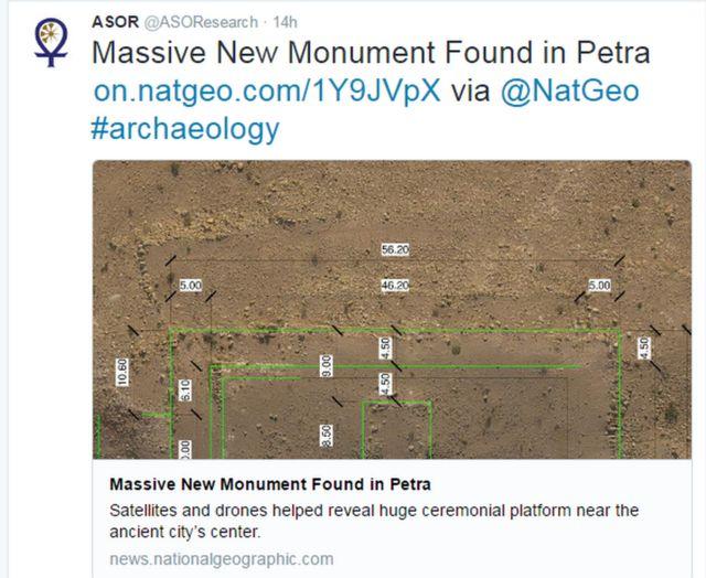 """""""Un nuevo monumento masivo hallado en Petra"""", asegura un tuit"""