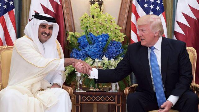 Президент США Дональд Трамп и эмир Катара Тамим аль Тани.