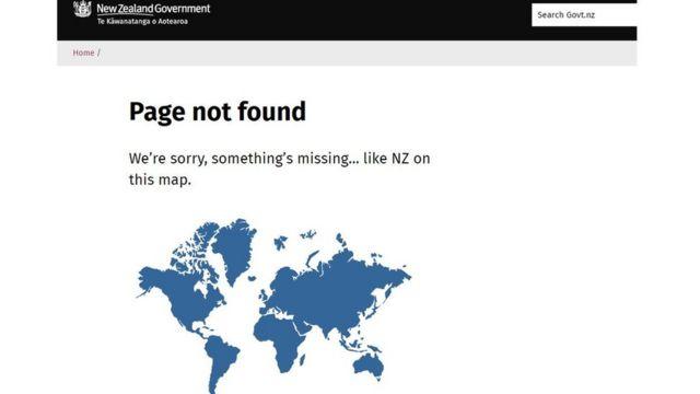 Imagen del sitio web del gobierno de NZ