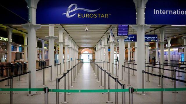 محطة يوروستار في محطة قطار سانت بانكراس الدولية في لندن