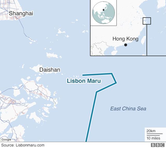 Map showing location of Lisbon Maru