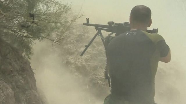 An Iraqi fighters on the outskirts of Fallujah.