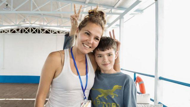 Gulnara Niaz and her son in 2016