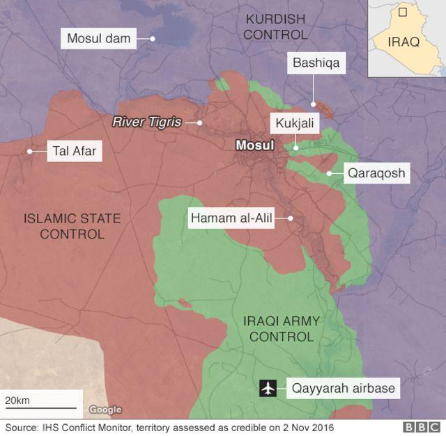 2日時点で各勢力が掌握する地域(緑:イラク軍、オレンジ色:IS、紫:クルド人)