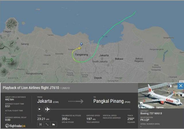 Jejak pesawat Lion Air JT-610 yang terekam pada laman Flightradar24 pada Senin (29/10).