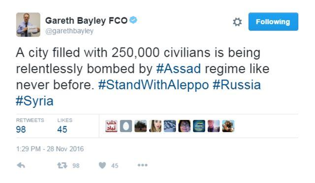 Tweet on Syria