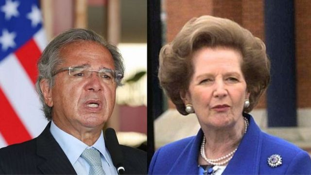 Paulo Guedes e Margaret Thatcher