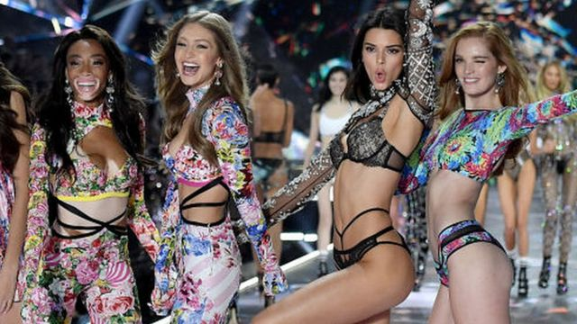 From left to right, models Winnie Harlow, Gigi Hadid, Kendall Jenner and Alexina Graham