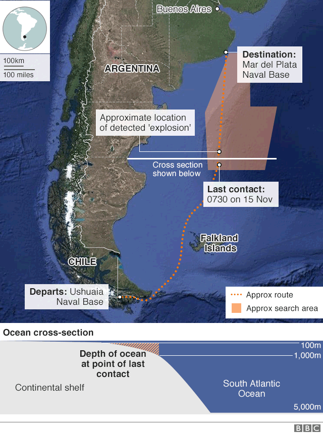 Map: Area where the ARA San Juan disappeared on 15 Nov