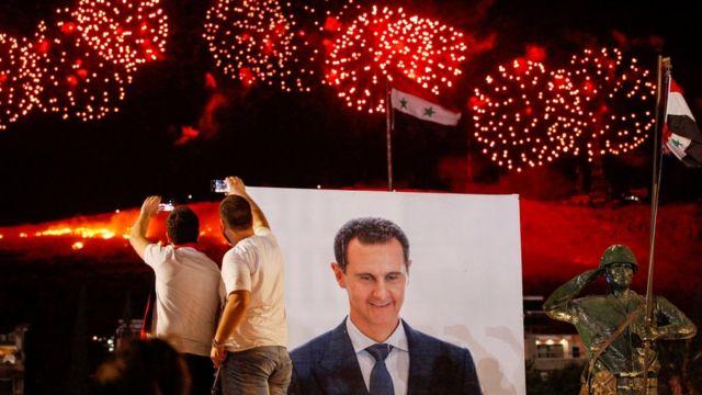 Beşar Esad posteri ve kutlamalar