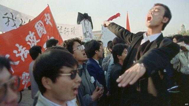 Estudiantes durante las protestas en Tiananmen.