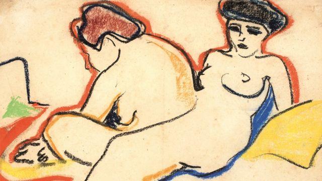 Dibujo de dos mujeres desnudas, del artista alemán Ernst Ludwig Kirchner