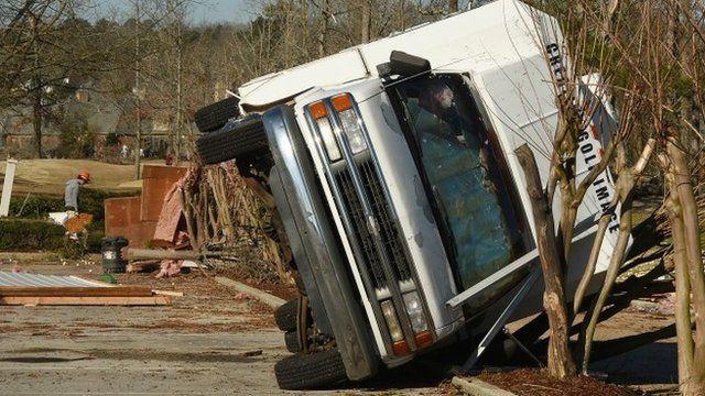 Truck damaged by tornado
