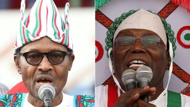 Madaxwayne Muxammadu Buhari (Bidix ) iyo mushraxa mucaaradka ugu cadcad Atiku Abubakar
