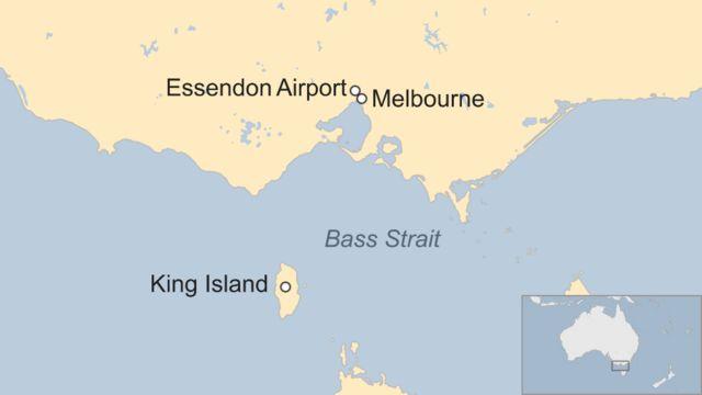エッセンドン(Essendon)空港、メルボルンとキング島の位置関係