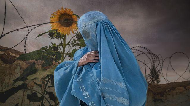 Mujer afgana embarazada con burka, ilustración