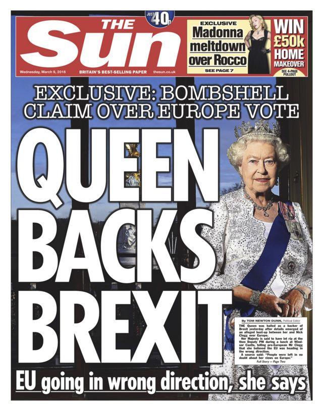 「女王はEU離脱を支持」と一面に掲げた9日付の英大衆紙サン