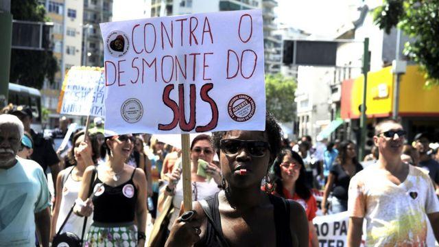 Protesto contra desmonte do SUS