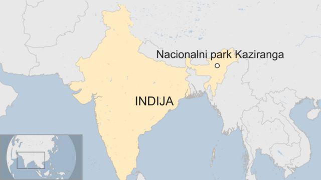 Mapa Indije i nacionalnog parka Kaziranga