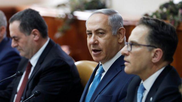 رئيس الوزراء الإسرائيلي، بنيامين نتنياهو، في اجتماع وزاري الأحد 11 فبراير/ شباط 2018