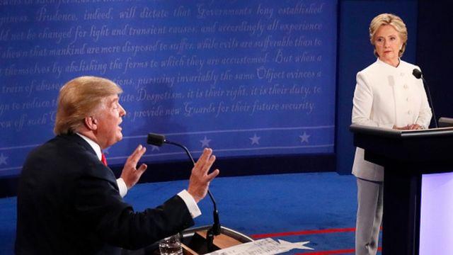 Donald Trump e Hillary Clinton durante a campanha eleitoral de 2016