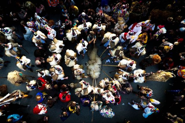 La Vijanera, a winter masquerade that takes place in the town of Silio, in Cantabria, Spain.