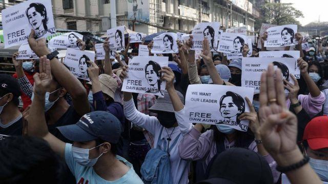 Gambar Aung San Suu Kyi di Yangon